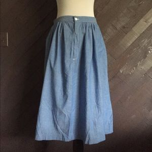 Vintage Blue Chambray A line Skirt